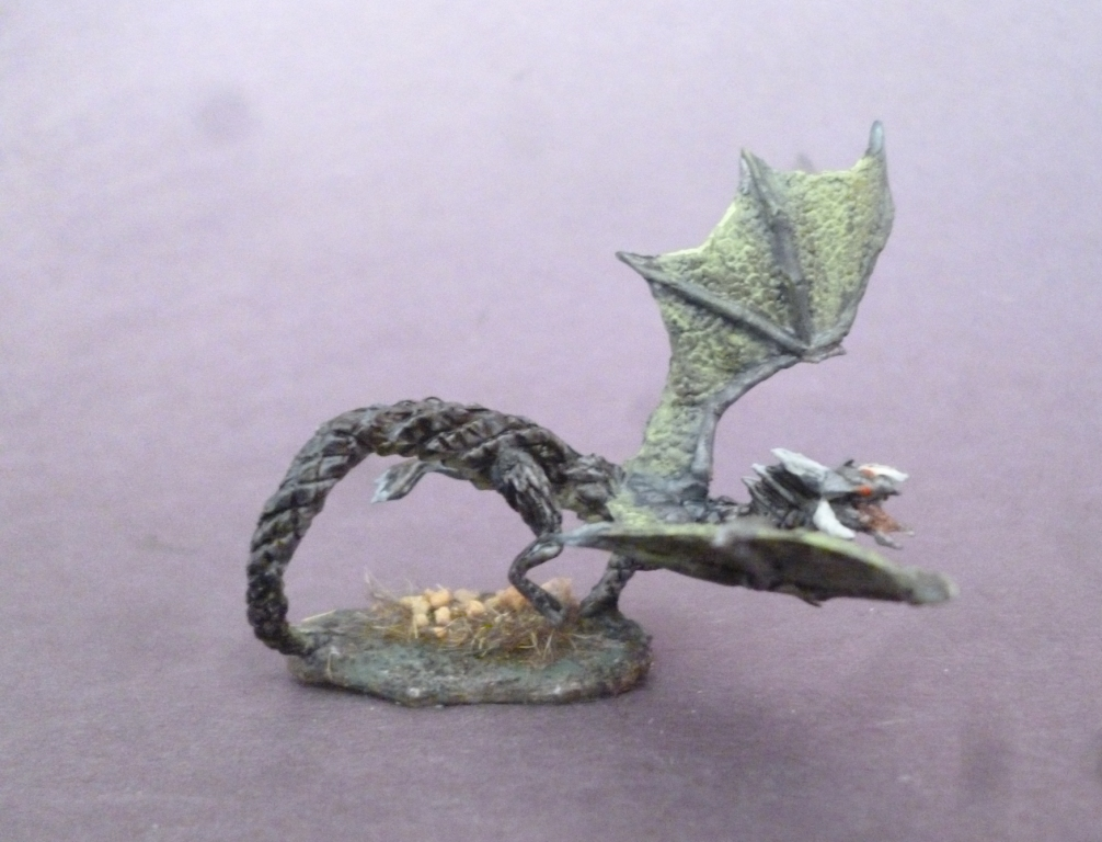 Hand Painted Reaper Bones Black Hatchling Dragon Miniature